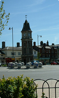 The Clock Tower in Newmarket Town Centre